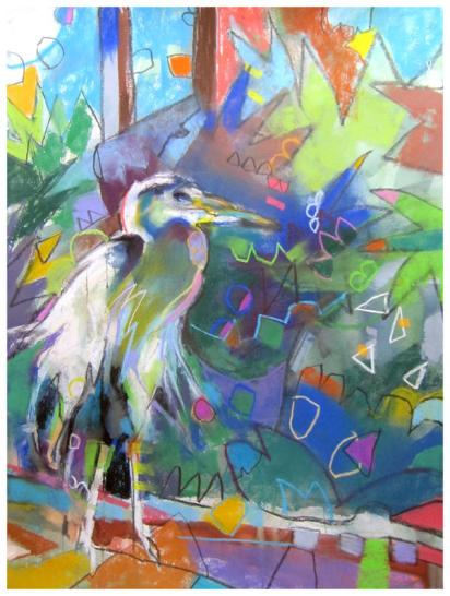 Blue heron, emily weil, pastel, watercolor