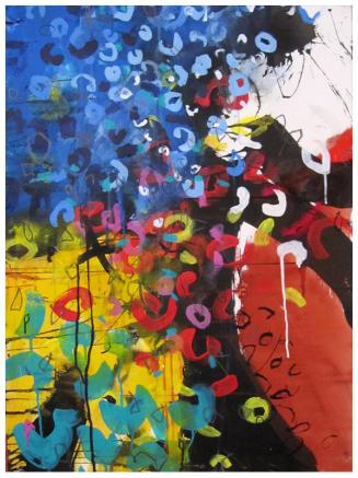 """watercolor, acrylic, India ink on paper   30""""h x 22""""w   $795"""