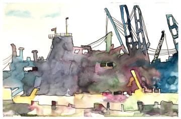"watercolor, pen on paper   5.5"" x 8.5""   $60"