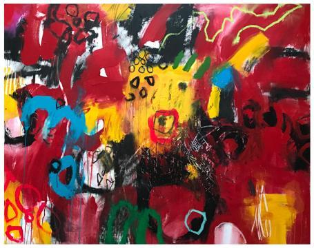 "acrylic, oil stick, pencil on canvas | 55"" x 67"" | $4790"