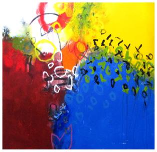 "acrylic, oil pastel on canvas | 62""h x 65""w 