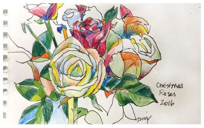 """colored pencil and ink on paper 
