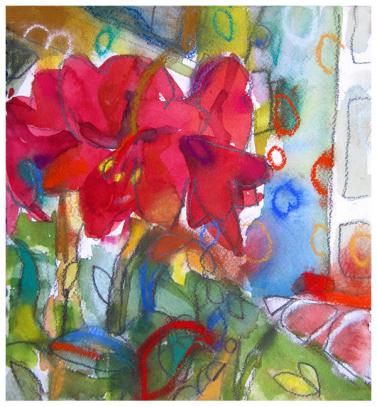 """watercolor, pastel, pencil on paper   9.5"""" x 9""""   SOLD"""
