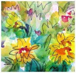 """watercolor, pencil on paper   7.5"""" x 7.5""""   SOLD"""