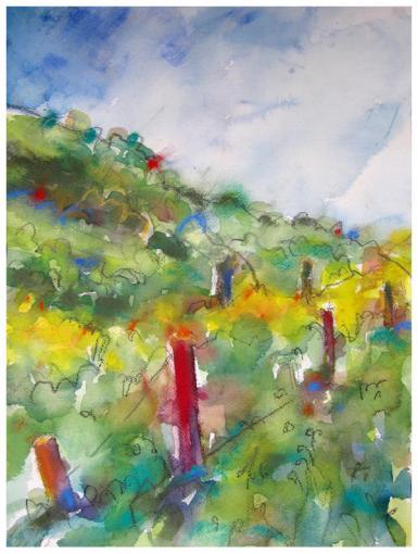 "watercolor, pencil, pastel on paper   11.25"" x 15""   $220"