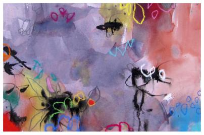 """watercolor, ink, pastel on paper 