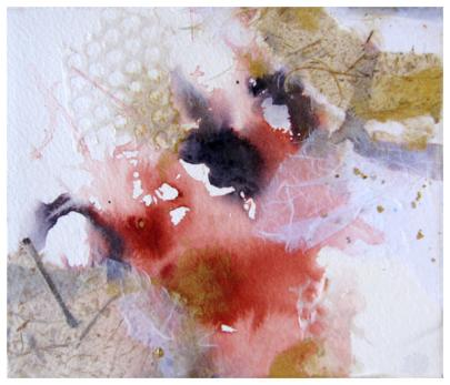 """watercolor, rice paper collage on #300 watercolor paper   7.5"""" x 10""""   $95"""