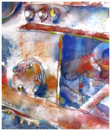 "watercolor, pencil, pastel on paper   13"" x 11""   $185"
