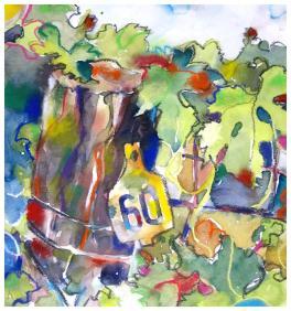 "watercolor, pencil, pastel on paper   13"" x 12""   $200"