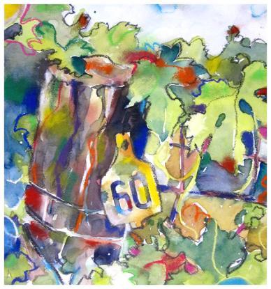 "watercolor, pencil, pastel on paper | 13"" x 12"" | $200"