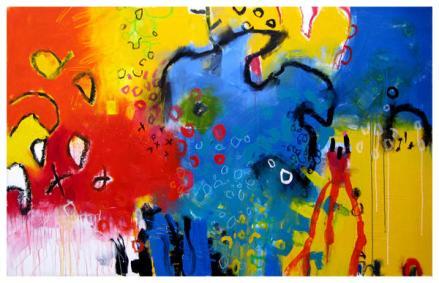 "acrylic, oil pastel on canvas   42"" x 67""   $3650"