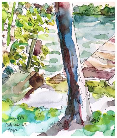 "watercolor, pen on paper   8"" x 7""   $70"