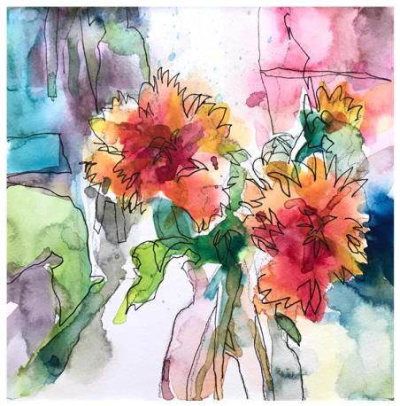 """watercolor, ink on paper   8"""" x 8""""   SOLD"""
