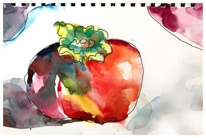 watercolor, pen sketch
