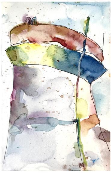 "watercolor, pen on paper   8"" x 5""   $50"