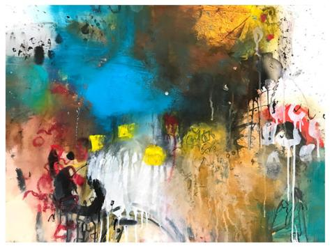 """acrylic, ink, oil pastel, pencil, chalk pastel on paper 