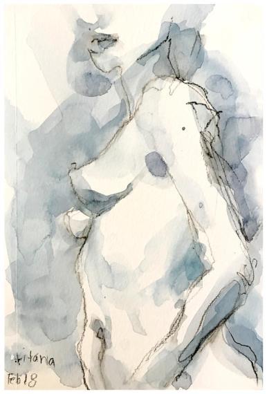"watercolor, watercolor pencil on paper | 5.5"" x 8.5"" | $60"