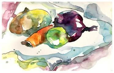 "watercolor, pen on paper   5.5"" x 8.5   $60"