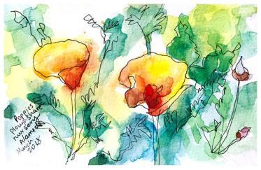 "watercolor, pen on paper | 5"" x 8 | $50"