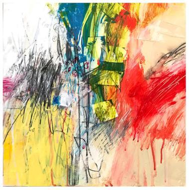 "acrylic, crayon, pencil on clayboard | 12"" x 12"" | $185"