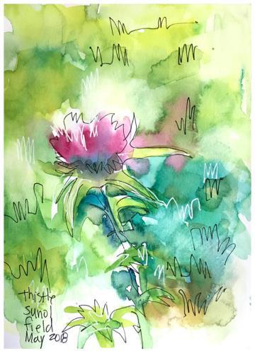 "watercolor, pen on paper   8"" x 6""   $60"