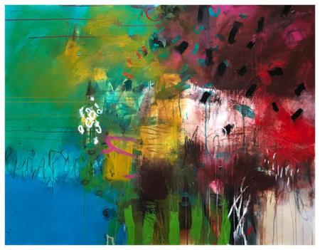 "acrylic, oil pastel on canvas | 43"" x 55"" | $3075"