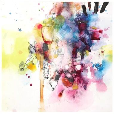 "watercolor, pen, pencil, collage on aquabord   8"" x 8""   $75"