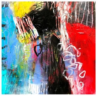 "acrylic, oil pastel on claybord | 8"" x 8"" | $75"