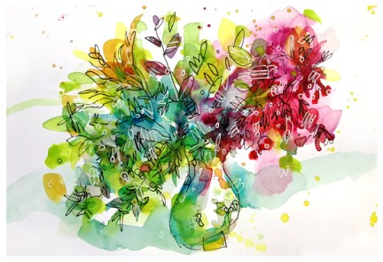"watercolor, pen on paper   7"" x 10""   $90"