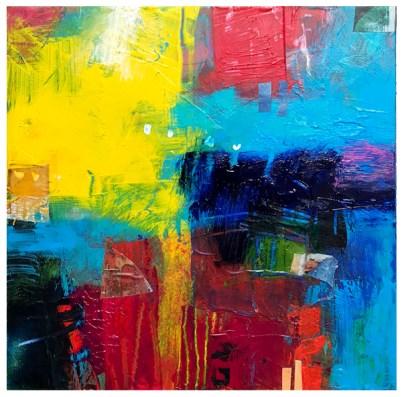 "acrylic, collage on claybord | 8"" x 8"" | $75"