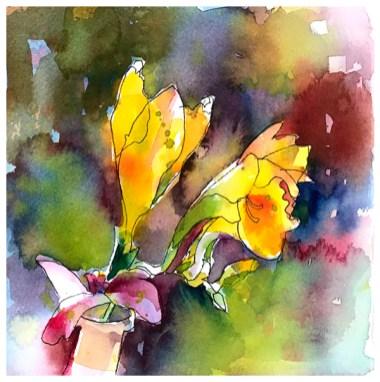 "watercolor, pen on paper   7.25"" x 7.25""   $70"