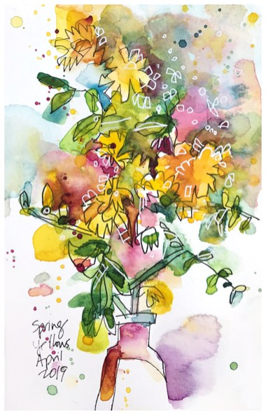 """watercolor, pen on paper   8"""" x 5""""   SOLD"""