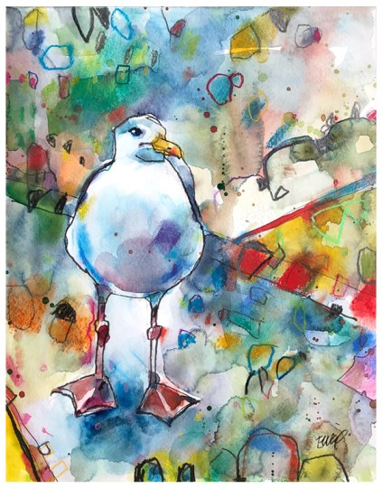 """watercolor, pastel, pencil, pen on paper   11"""" x 14""""   $195"""