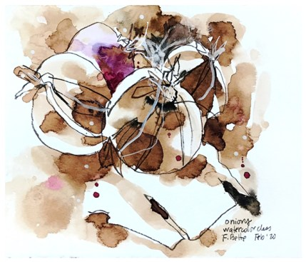 """watercolor, walnut ink, pen on paper   7"""" x 8""""   $70"""