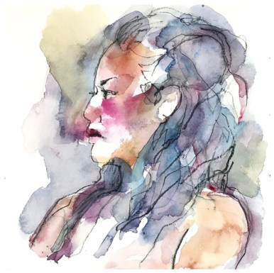 "watercolor, pen on paper | 7.5"" x 7.5"""