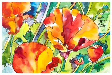 "watercolor, pen, pastel pencil on paper   7"" x 10""   SOLD"