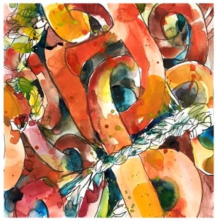 "watercolor, pen on paper | 7.5"" x 7.5"" | $75"
