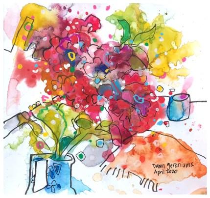 """watercolor, pen, pastel on paper   7.5"""" x 7.5""""   $75"""