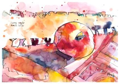 """watercolor, pen, pastel pencil on paper   7"""" x 10""""   $90"""