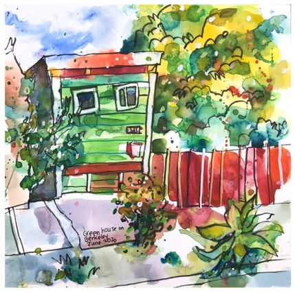 "watercolor, pen on paper   10"" x 10""   $225 (framed)"