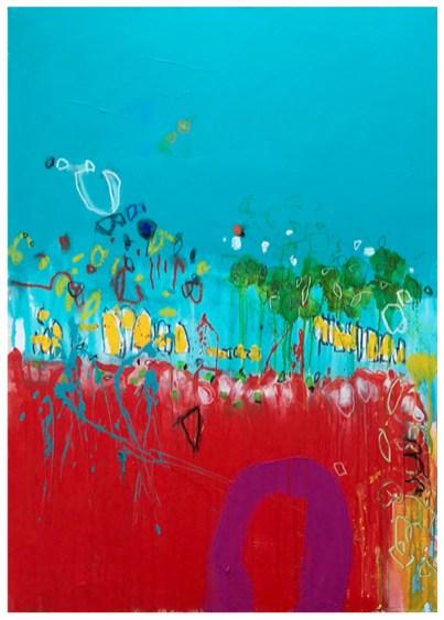 "acrylic, crayon, oil pastel, pencil on canvas | 56""h x 40""w | $2900"
