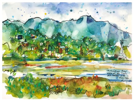 """watercolor, pen on paper   9"""" x 12""""   SOLD"""