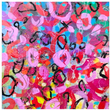 "acrylic, pencil, oil pastel crayon on claybord   12"" x 12""   $185"