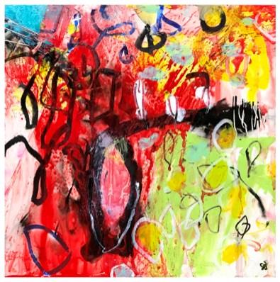 "acrylic, pencil, oil pastel on claybord | 8"" x 8"" | $75"