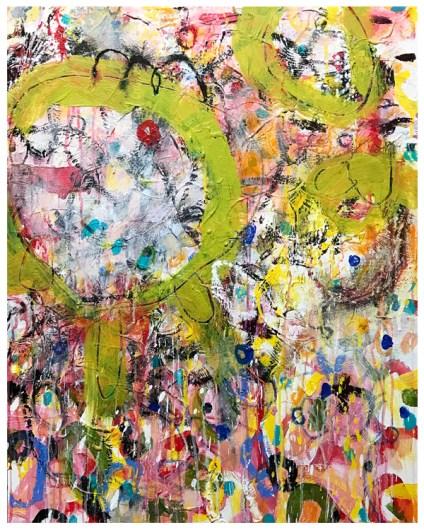"acrylic, crayon, oil pastel, pencil on canvas | 30""h x 24""w | $975"