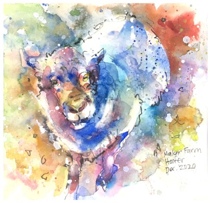 "watercolor, pen, acrylic splats on paper   7.5"" x 7.5""   $75"