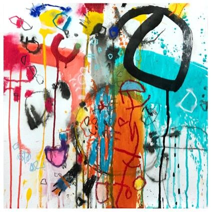 "ink, pencil, pastel, oil pastel, watercolor, crayon, acrylic on paper | 18"" x 18"" | $425"