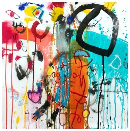 "ink, pencil, pastel, oil pastel, watercolor, crayon, acrylic on paper   18"" x 18""   $425"