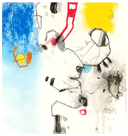 "oil pastel, chalk pastel, pencil, ink, crayon on paper | 9.25"" x 9"" 