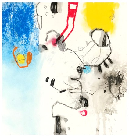 "oil pastel, chalk pastel, pencil, ink, crayon on paper   9.25"" x 9""   $110"